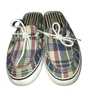 Sperry Topsider Plaid Slip On Boat Shoes Size 8.5